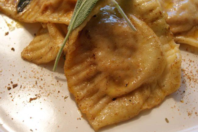 East Indian flavored eggplant ravioli