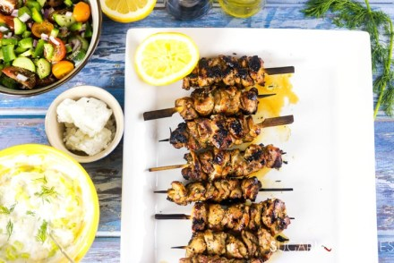 Chicken Souvlaki with fresh Greek Salad-souvlaki in a plate