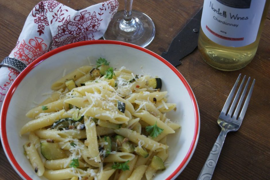 Penne with zucchini and mushrooms