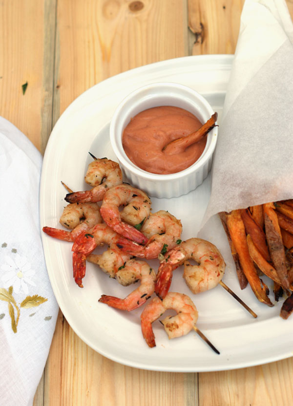Herb Bbq Prawn Skewer With Baked Sweet Potatoes