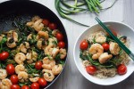 Prawns arugula and grape tomatoes