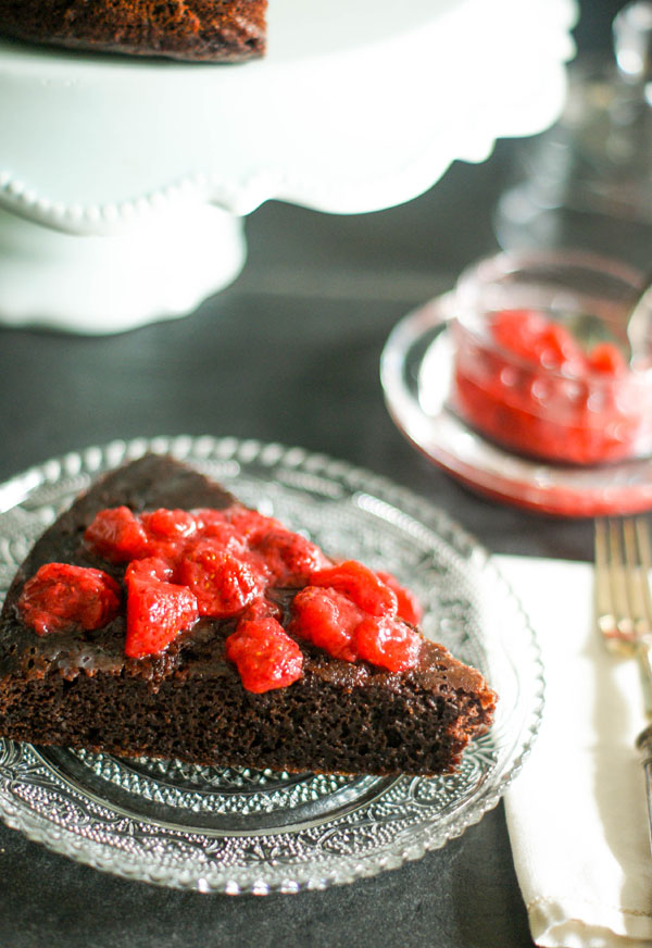 black bean cake with strawberry coulis
