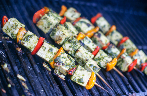 Grilled Tofu Pepper Skewers in a Pesto Sauce - SugarLoveSpices