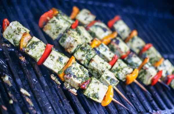 Grilled Tofu Pepper skewers