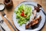 bbq pork ribs with rhubarb chutney