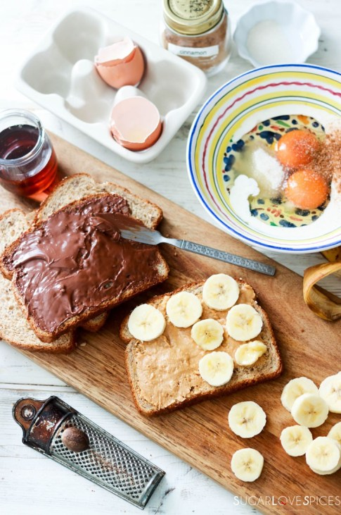 Nutella Banana Stuffed French Toast-stuffing the toast