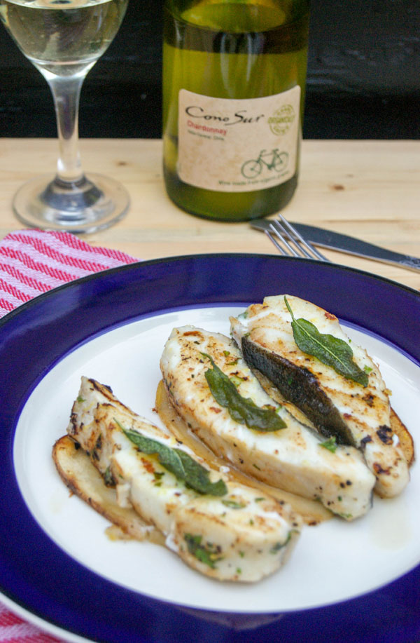 Pan-seared Halibut with a vegetable medley wine sauce