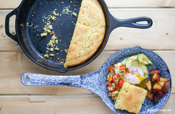 Skillet Corn Bread with Poached Egg and Friends