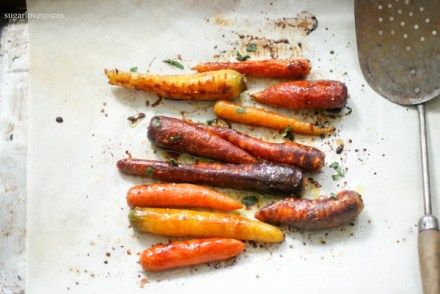 Maple Mustard Roasted Rainbow Carrots