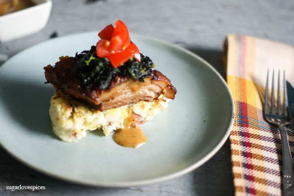 Slow Braised Pork Belly on Rustic Mushed Potatoes