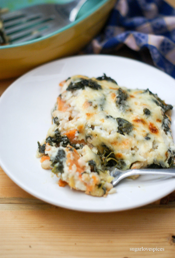 Chard, White Bean & Sweet Potato Gratin