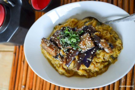 coconut curry spaghetti squash with sezchuan eggplant