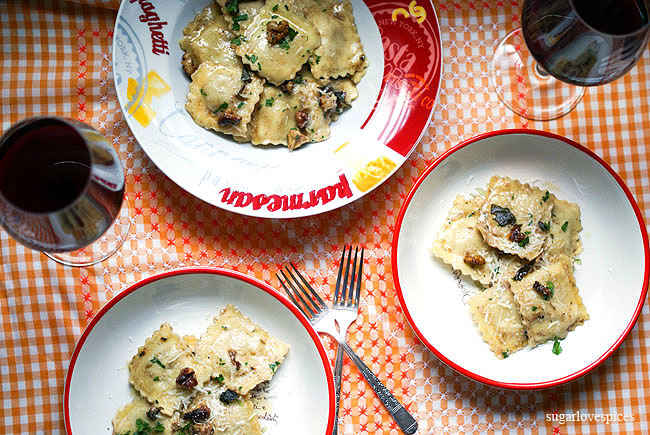 Smoked Cheese Ravioli with brown butter sage walnut sauce