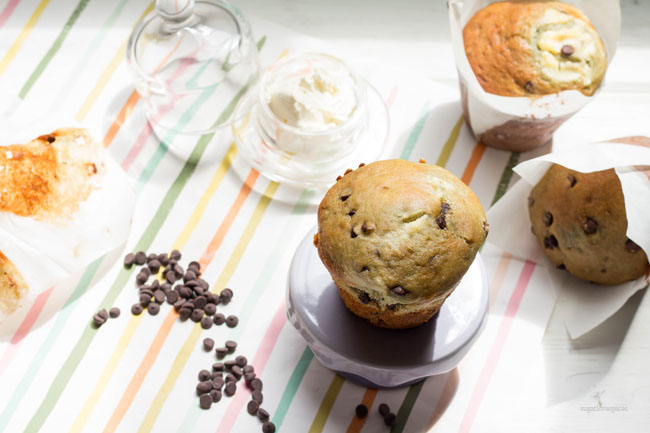 Cherry Yogurt Cream Cheese Chocolate Chip Muffins