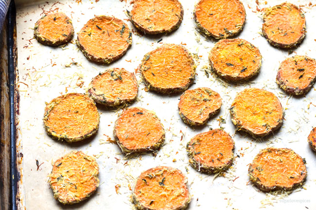 Thyme and Parmigiano Roasted Sweet Potatoes