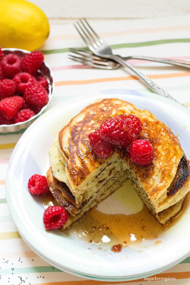 Lemon Ricotta Poppy Seed Pancakes