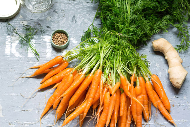 Quick pickled Ginger Cardamom Baby Carrots