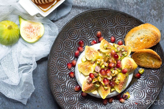 Baked Camembert with Figs and Pistachios