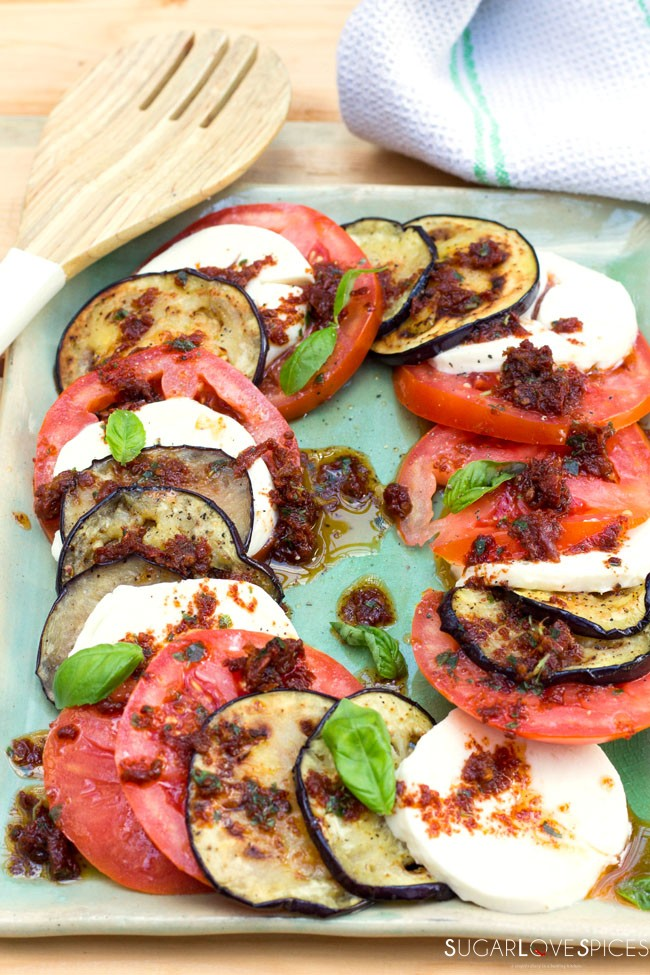 Grilled Eggplant Caprese Salad - SugarLoveSpices