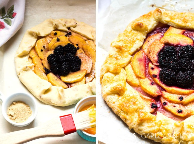Peach Blackberry galette