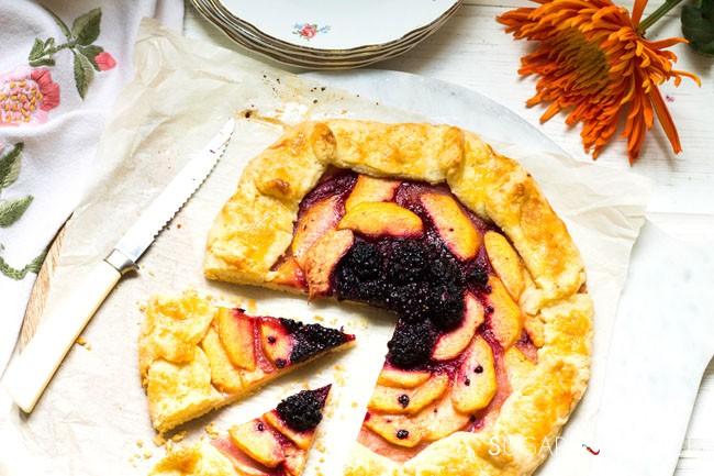 Peach Blackberry galette