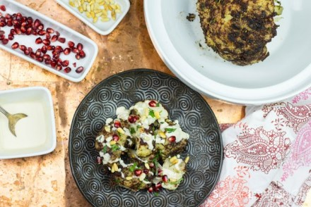 Cauliflower-Shawarma-with-Pomegranate-Tahini-and-Pine-Nuts