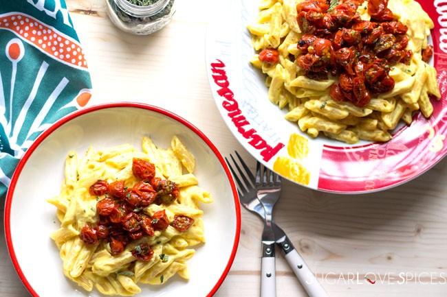 Penne Ricotta, Saffron and Cherry tomatoes confit