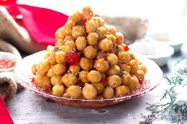 Traditional Christmas Desserts.Struffoli Italian Christmas Classic