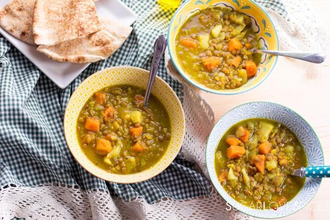 Sweet Potato Lentil Split Pea Soup