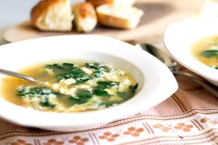 Swiss chard stracciatella soup