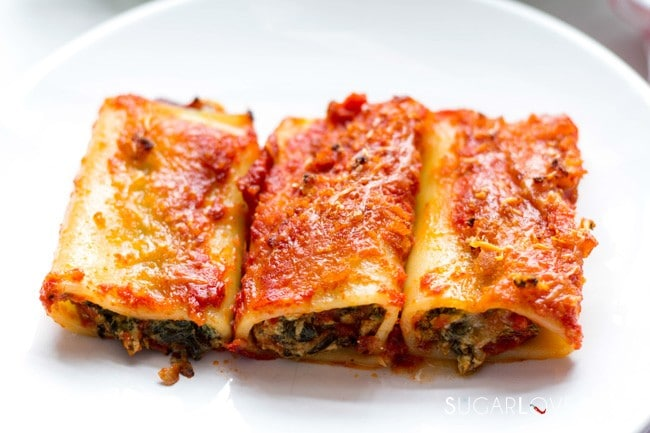Oven Baked Spinach Ricotta stuffed Paccheri