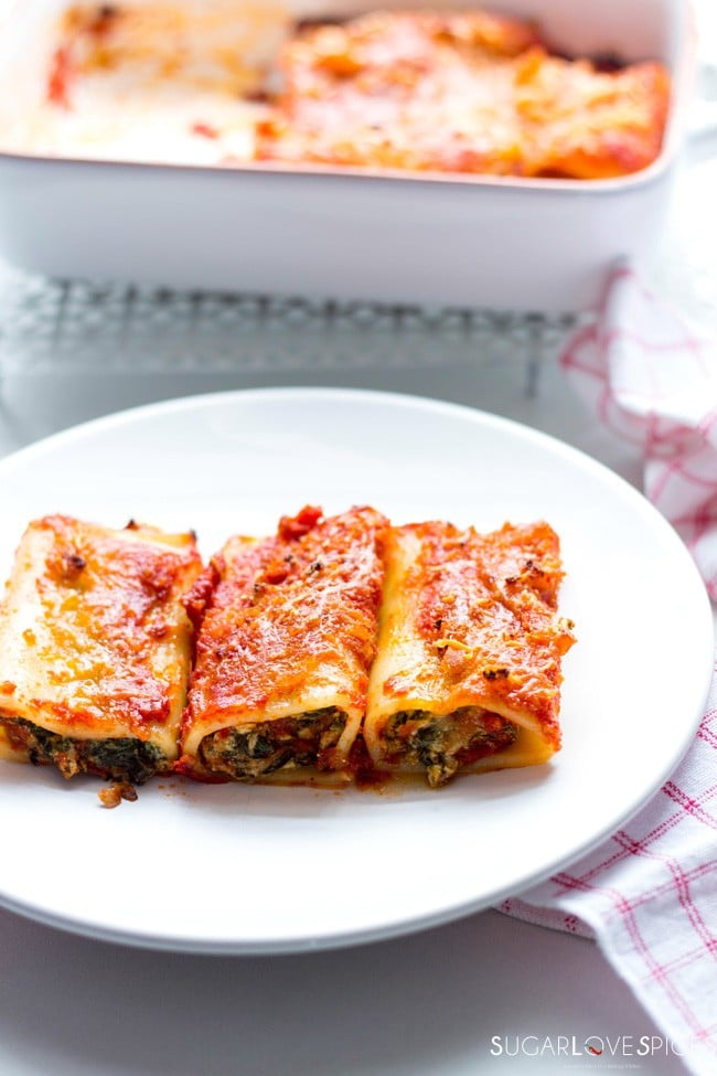 Oven Baked Spinach Ricotta Stuffed Paccheri, miniature version of the ...