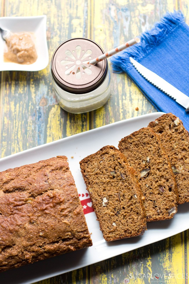 Whole Wheat Tahini Banana Nut Bread