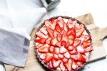 Chocolate Tart with Pastry Cream and Strawberries