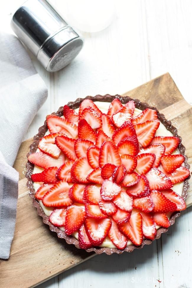Chocolate Tart with Pastry Cream and Strawberries