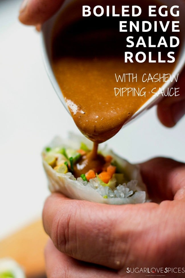 Boiled Egg Endive Salad Rolls with Cashew Dipping Sauce