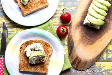 Peruvian Avocado & Cream Cheese Roll on Toast