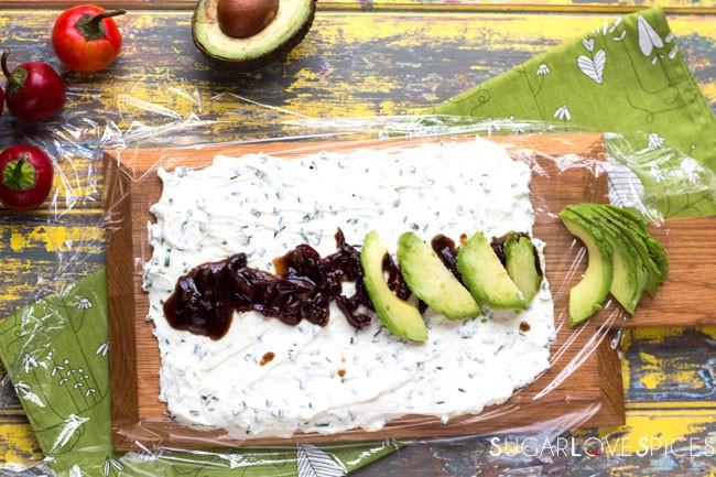 Peruvian Avocado & Cream Cheese Roll on Toast