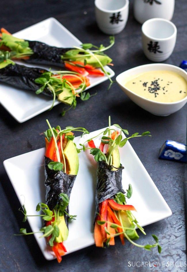 Raw vegetable nori wraps
