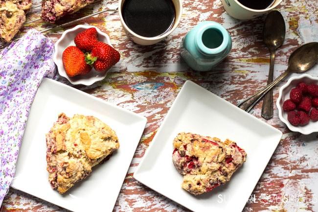 Triple berry dark chocolate scones