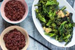 Red Rice with Braised Garlic Chili Broccolini