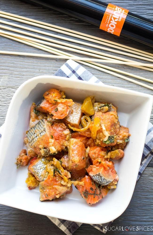Lemongrass Ginger Salmon Skewers