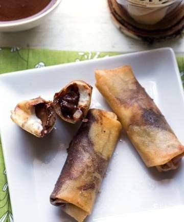 Organic Cocoa Hazelnut and Mascarpone Spring Rolls