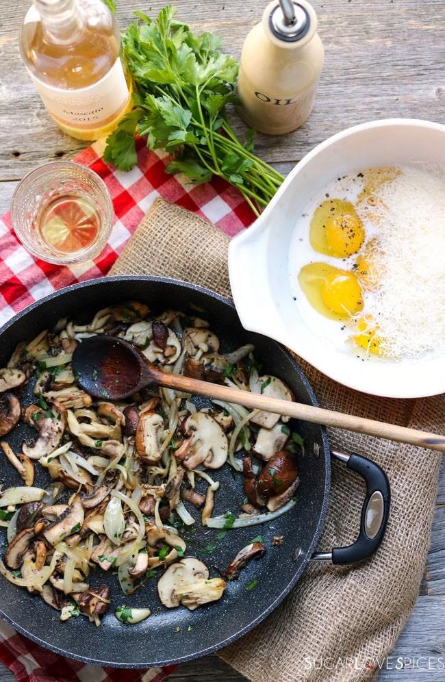 Mushromm Frittata with Truffle cheese-prep