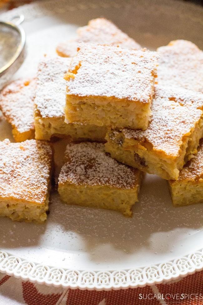 Torta di Riso di Grazianella (Italian Rice Cake)-closeup of the squares