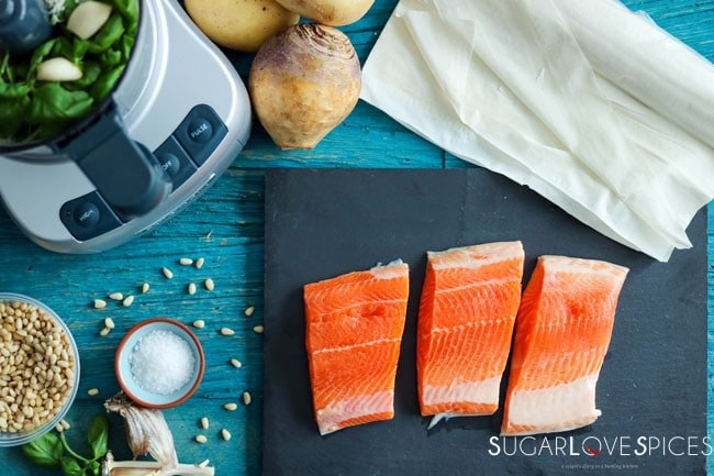 Arctic Char in phyllo pastry with a potato and rutabaga puree-arctic char