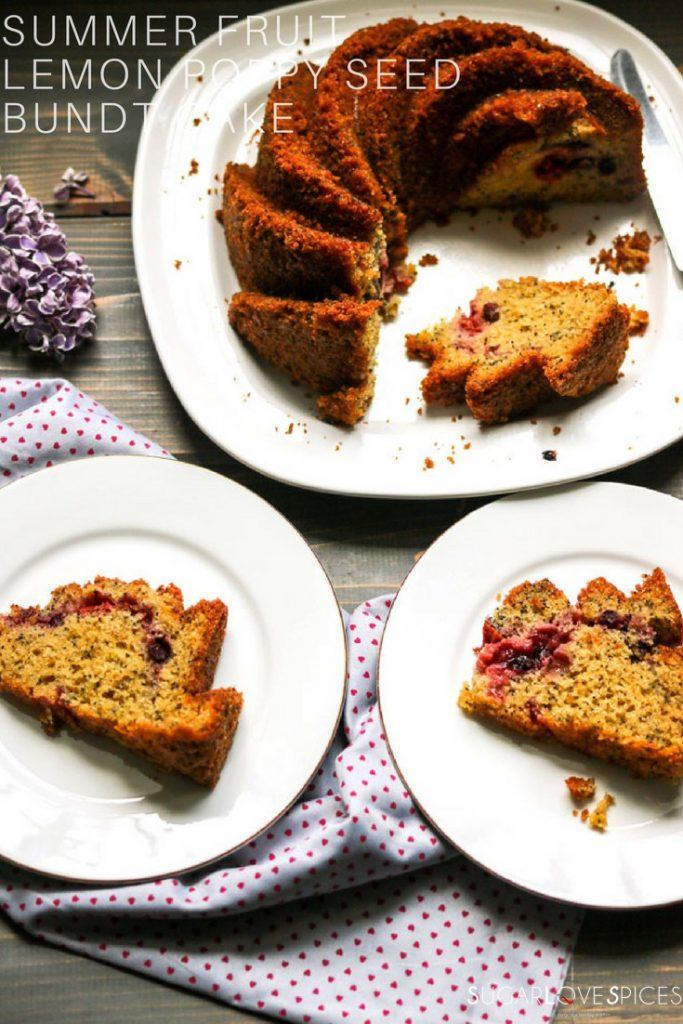 Summer fruit lemon poppy seed bundt cake