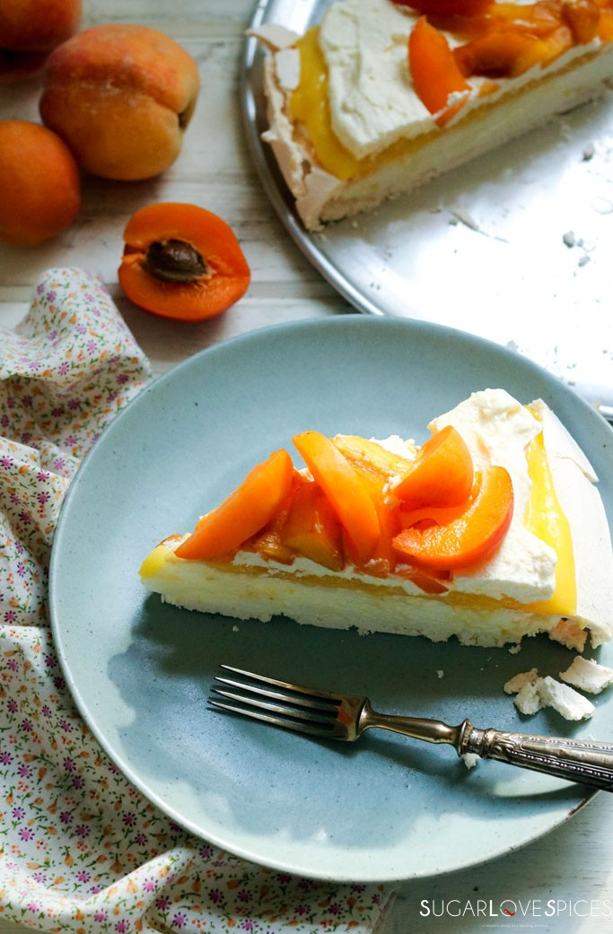 Nigella's Lemon Curd Pavlova with Peaches & Apricots