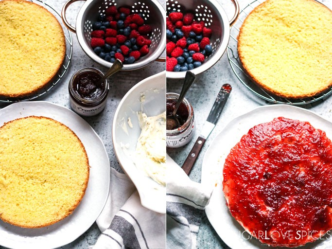 Torta Paradiso with Summer berries, Mascarpone and Jam