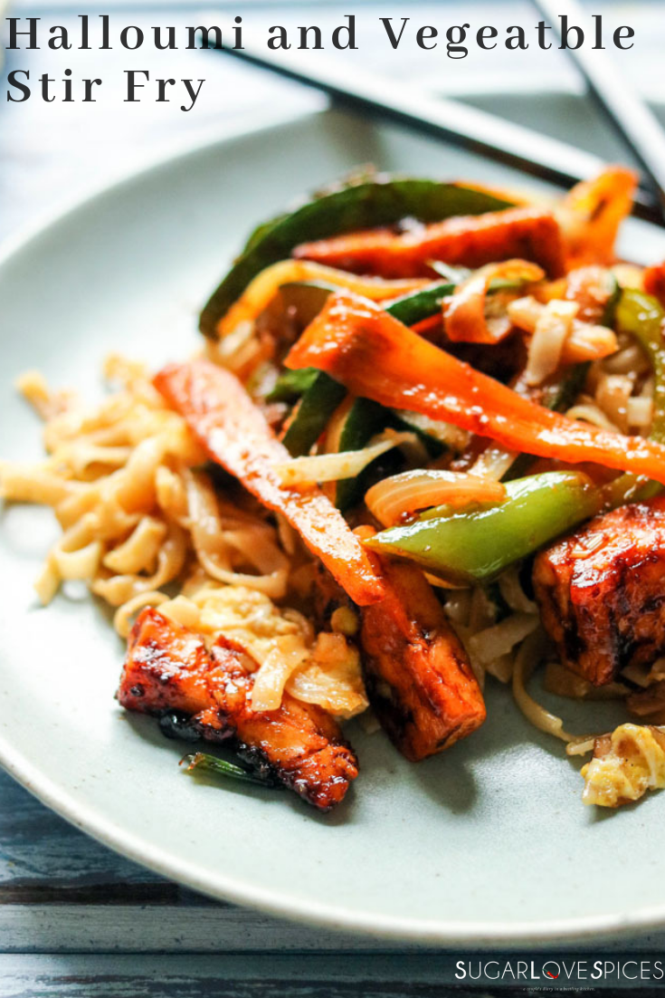 Halloumi and Vegetable Stir Fry, combines a popular staple of ancient Cyprus and quick cooking methods of Asia, to become a fusion dish far beyond words! Absolutely scrumptious!